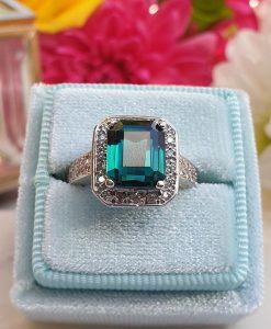 Antique 18ct White Gold Green Tourmaline & Diamond Engagement Ring