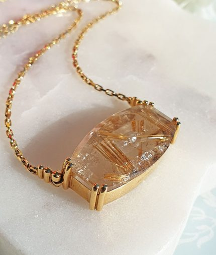Large Vintage Rutilated Quartz Necklace in 18ct yelow gold