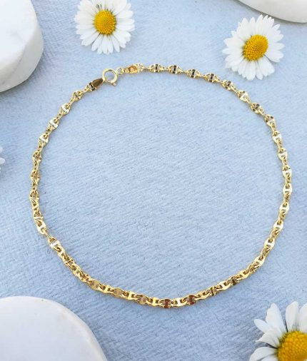 9ct yellow mariner anchor style anklet 9''