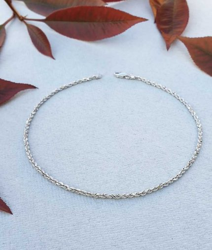 9 ct white gold rope chain anklet