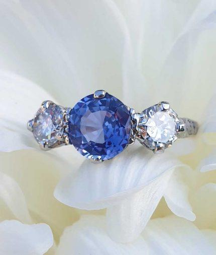 Antique Purple Sapphire & Diamond three stone ring