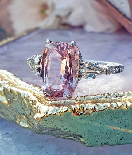 Edwardian Natural 3.3cts Ceylon Padparadscha Sapphire & Diamond Ring & Certified