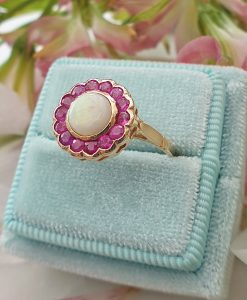 Victorian Inspired 14ct Yellow Gold Opal & Ruby Flower Ring