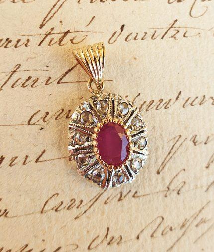 Edwardian Inspired 14ct Yellow Gold Round Shaped Ruby & Diamond Pendant