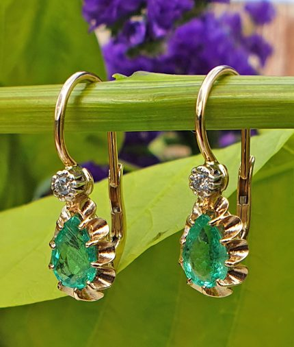 14ct Yellow Gold with Diamond and Emerald Drop Earrings