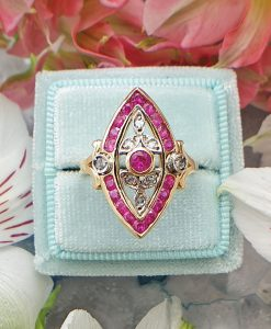 14ct Antique Inspired Marquise Ruby Ring