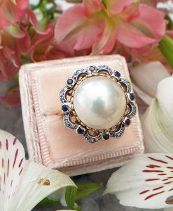 Elegant 14ct Yellow Gold Diamond and Freshwater Pearl Ring