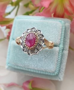 Vintage Inspired Floral Shaped 14ct Yellow Gold Ruby and Diamond Ring