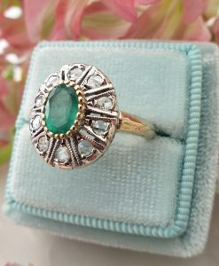 Art Deco Inspired 14ct Yellow Gold Brilliant-Cut Diamonds and Emerald Ring