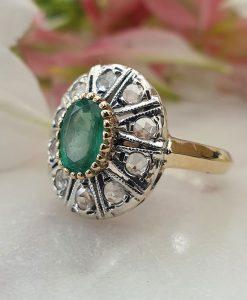 Art Deco Inspired 14ct Yellow Gold Brilliant-Cut Diamonds and Emerald Ring