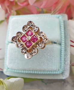 Timeless 14ct Yellow Gold Flower Shaped Ruby and Diamond Ring