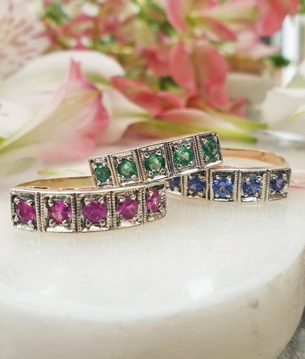 14ct Yellow Gold Half Eternity Stack Ring: Ruby, Emerald or Sapphire