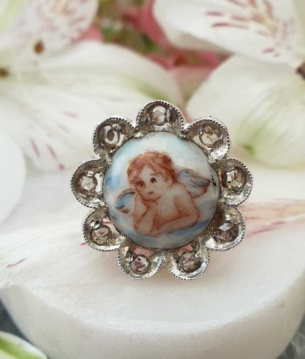 Vintage Inspired Angel Painting 14ct Yellow Gold Diamond Statement Cocktail Ring