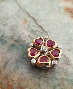 Vintage Inspired 18ct White Gold Ruby and Diamond Heart Flower Shaped Necklace