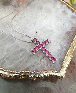 18ct White Gold Diamond & Ruby Cross Necklace