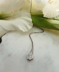 18ct White Gold Diamond Flower Shaped Dainty Necklace
