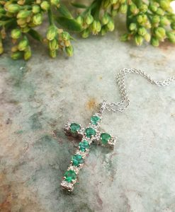 18ct White Gold Cross Emelished With Diamonds & Emerald Necklace