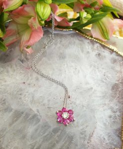 18ct White Gold Pink Ruby Shaped Flower Necklace