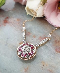 Victorian Inspired 14ct Yellow Gold Diamond & Ruby Circular Shaped Necklace