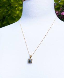 Edwardian Inspired 14ct Yellow Gold Square Shaped Diamond &Sapphire Pendant