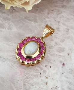 Vintage inspired floral shaped 14ct yellow gold Ruby and Opal Pendant