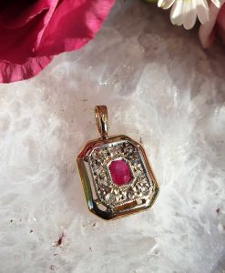 Victorian Inspired 14ct Yellow Gold Diamond & Ruby Square Shaped Pendant