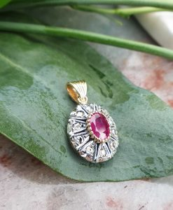 Edwardian Inspired 14ct Yellow Gold Round Shaped Ruby & Diamond Pendant