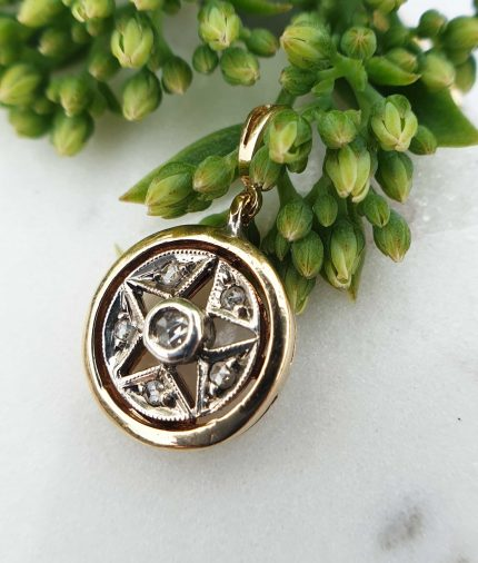 Vintage Inspired Star Circular Shaped 14ct Yellow Gold with Diamonds Pendant