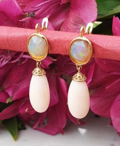 14ct yellow gold & pink coral Y opal drop earrings . Leaver back