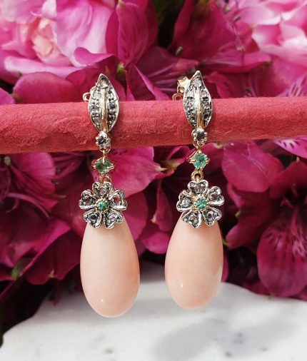14ct yellow gold & pink coral drop earrings with diamonds and emeralds. Post & Butterfly