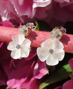 14ct Yellow Gold Flower Earrings In Rock Crystal & Diamonds