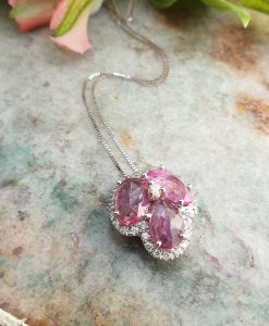 18ct White Gold Flower Shaped Necklace with Pink Sapphire & Diamonds