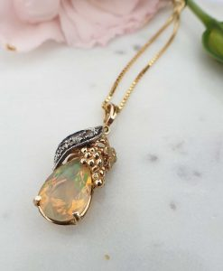 Nature inspired 14ct Yellow Gold Diamond and iredescent Opal necklace