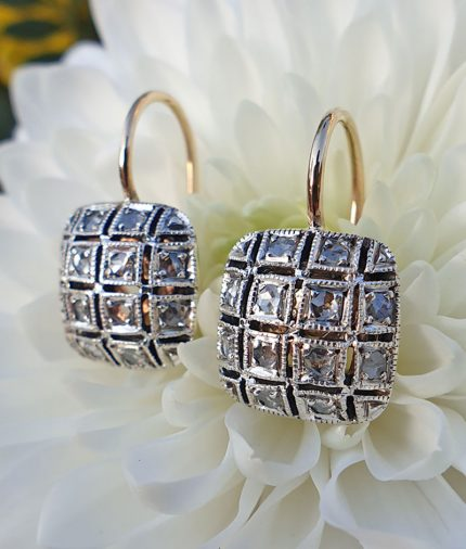 14ct gold square cushion drop earrings leaver back