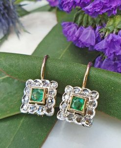 14ct Rose Gold Square Diamond Drop Earrings Emerald or Sapphire