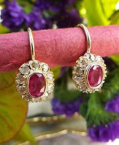 Victorian Inspired 14ct Yellow Gold Ruby & Diamonds Flower Shaped Drop Earrings