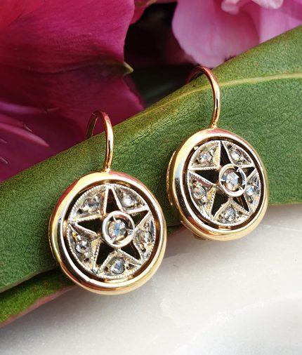 14ct Yellow Gold Round Star Diamond Drop Earrings