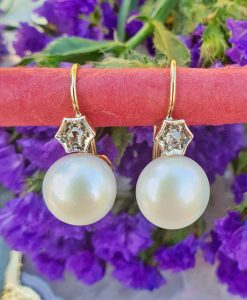 14ct Yellow Gold rose cut Diamond & Freshwater Pearl Earrings