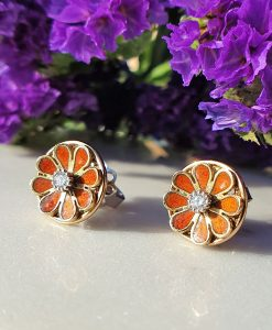 Vintage Inspired 14ct Yellow Gold Round Flower Stud Earrings