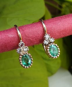 Beautiful Dainty 14ct Yellow Gold with Diamond and Emerald Drop Earrings