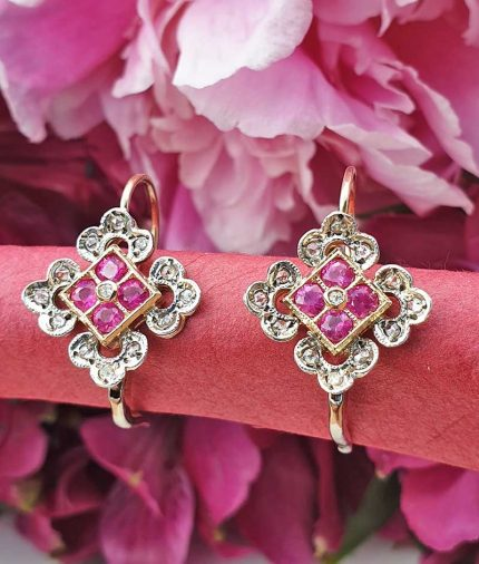 14ct yellow gold Ruby and Diamonds drop earrings