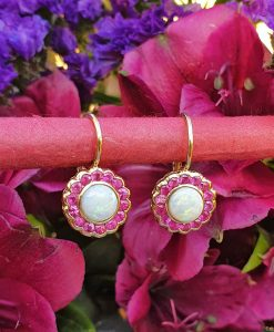 14ct yellow gold opal and ruby flower shaped drop earrings. Leaver back
