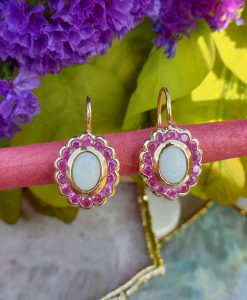 Opal Earrings with Halo of Rubies in a Vintage Style Design