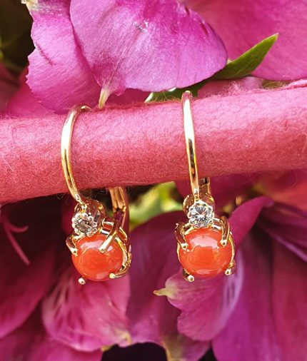 14ct gold coral and diamond drop earrings. Leaver back