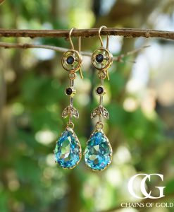 Statement 9ct Rose Gold Sapphire & Blue Topaz Diamond Drop Earrings