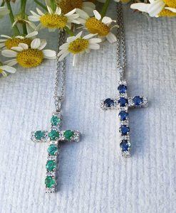 18ct White Gold Cross Necklace with Diamond Sapphire or Emerald