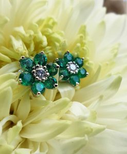 18ct White Gold Flower Shaped Emerald & Diamond Earrings