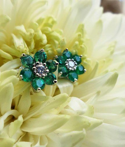 18ct White Gold Flower Shaped Emerald & Diamond Earrings