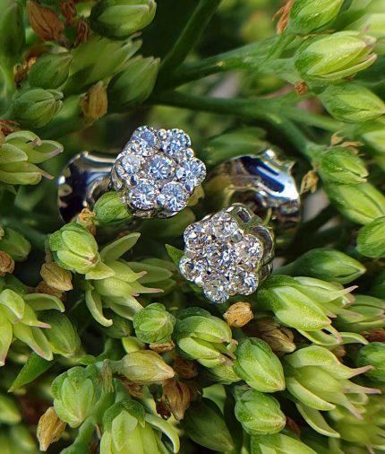 18ct White Gold Diamond Flower Shaped Earrings