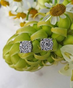 18ct White Gold Dainty Flower Shaped Diamond Earrings